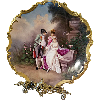"15.5""  Magnificent Limoges Figural Scene Plaque, Listed Limoges Artist Signed, E .Furlaud"""