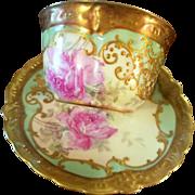 Antique Limoges Rose Cup Saucer Set, Ca 1891