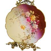 Antique Limoges Hand Painted  Rose Plaque Charge ,Ca 1890's