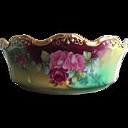 Limoges Hand Painted Rose Ferner Bowl , French Artist Signed