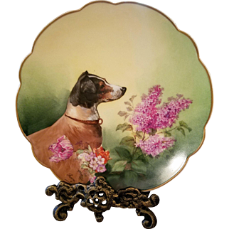 Limoges Hand Painted Dog Portrait Plate,Artist Signed