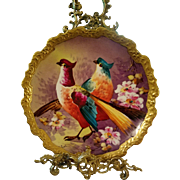 Large Spectacular Limoges Hand Painted Bird Game Plaque Charger,  Limoges Artist Signed