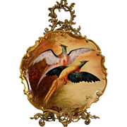"""Large Spectacular Limoges Hand Painted Bird Game Plaque Charger, Listed  Limoges Master Artist Signed,"""" A.Bronssillon"""""""