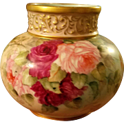 Limoges Hand Painted Bulbous Rose Vase, Ca 1891-1930