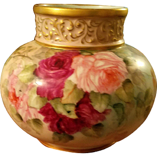 Limoges Hand Painted Bulbous Rose Vase, Ca 1891-1930