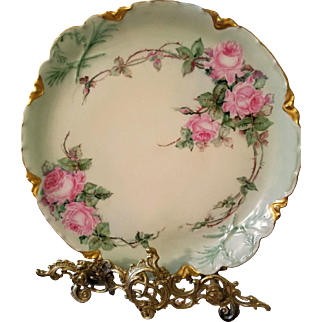 Limoges Haviland Hand Painted Rose Charger, Artist Signed