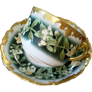 Limoges Hand Painted Cup Saucer Set