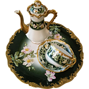 Limoges Hand Painted Tea Chocolate Pot Cup Charger Set