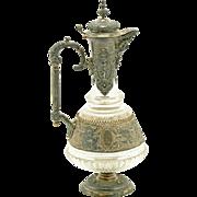 Antique Austria Viennese Silver Mounted Crystal Claret Decanter Ewer