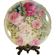 Vintage Bavaria Hand Painted Rose Cake Plate Charger, Artist Signed