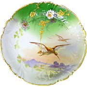 Limoges Hand Painted Flower Bird Plate