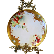 "Spectacular Pickard Studio Limoges  Hand Painted  Raspberry Charger Plate, Pickard Artist Signed, ""J. Nessy"""