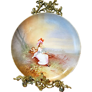 French  Old Paris Hand Painted Charger Plaque,Artist Signed