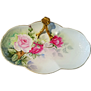 Limoges Hand Painted Rose Tray