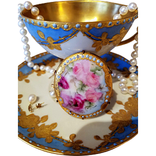 Antique Hand Painted Porcelain Rose Brooch Sash Pin,Ca Early 1900's