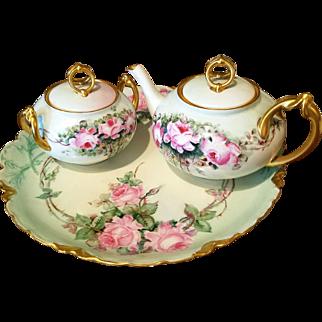 Limoges Hand Painted Rose Tea Pot Sugar Bowl Set, Favorite Bavaria Painted
