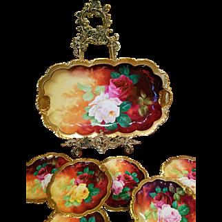 "Spectacular 13 Pcs Limoges Hand Painted  Rose  Platter /Plate Dessert Set, Listed Artist Signed,"" A.Bronssillon"""