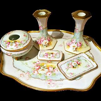 Limoges Hand Painted Rose Dresser Tray Set , Artist Signed