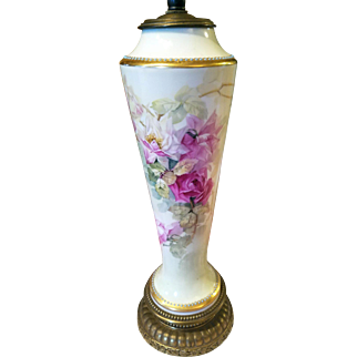 Limoges Hand Painted Jeweled Rose Lamp, Artist Signed