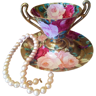 Nippon Hand Painted Rose Gold Cup Saucer Set, Ca 1889