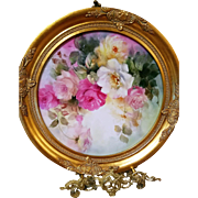 "17"" Magnificent Vintage Hand Painted Rose Framed Wall Plaque Charger"