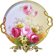 """16"""" Magnificent  Limoges  Hand Painted Rose Platter Tray Charger , French Artist Signed"""