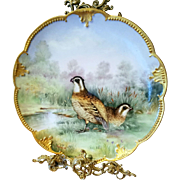 """14"""" Large Limoges Game  Bird Hand Painted Charger Plaque, French Artist Signed"""