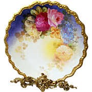 """12"""" Limoges Hand Painted Rose Charger Plaque Plate ,Listed Limoges Artist Signed,"""" J. Marsal"""""""