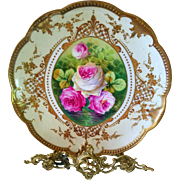 Limoges  Hand Painted Rose Gold Charger Plaque Plate ,Reflecting Waters Roses ,Signed Master French Artist Carville - Red Tag Sale Item