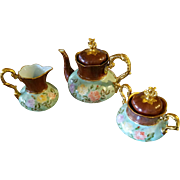 German Hand Painted Rose Gold Tea Coffee Chocolate Pot  /Creamer/ Sugar  Bowl Set. Artist Signed