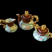 German Hand Painted Rose Gold Tea Coffee Chocolate Pot  /Creamer/ Sugar  Bowl Set. Artist Signed