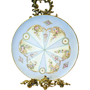 """14"""" Stunning Limoges Hand Painted Jeweled Rose Tray"""