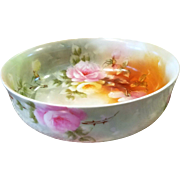 Limoges Hand Painted Rose Bowl , Artist Signed