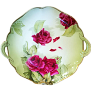 Bavaria Hand Painted  Rose Cake Plate Charger, Artist Signed