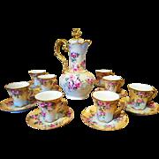 Limoges  Haviland France Hand Painted Rose Chocolate Pot /8 Cup /8 Saucer Set