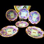 "Antique Bavaria Toledo Hand Painted 6 Plate Dessert Set, Artist Signed ""E.D. Duvall"""