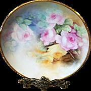 Limoges Haviland France Hand Painted Rose Cabinet Plate