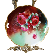 Limoges Hand Painted Rose Charger Cake Plate,Artist Signed