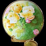 "Bavaria Hand Painted Rose Cabinet Plate,Artist Signed"" C. Penet"""