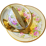 """Bavaria Hand Painted Rose Cup Saucer Plate Trio Set , Pickard Artist Signed """"Reury"""""""