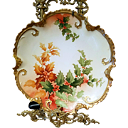 """Limoges Hand Painted Holly Berry Wall Plaque Charger,Listed  French Artist Signed, """"Rene"""""""
