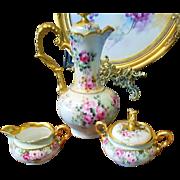 German Hand Painted Creamer Sugar Bowl Set, Ca Early 1900's