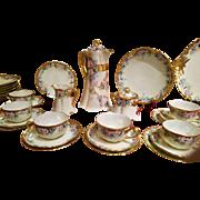 Haviland Limoges Hand Painted Chocolate Coffee Tea Pot  Dessert Lunch Set, 33 Pcs, Artist Signed