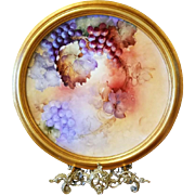 """18"""" Limoges Hand Painted Grape Wall Plaque Charger  Ca Early 1900's"""
