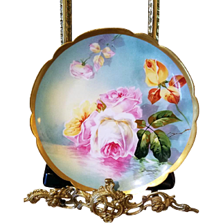 Limoges Hand Painted Reflecting Waters Rose Plate