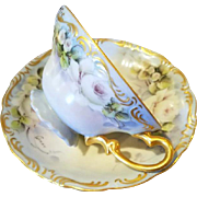 Limoges or Bavaria Hand Painted White Rose Cup Saucer, Artist Signed