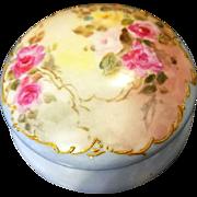 Limoges Hand Painted Rose Jewelry Trinket box Jar