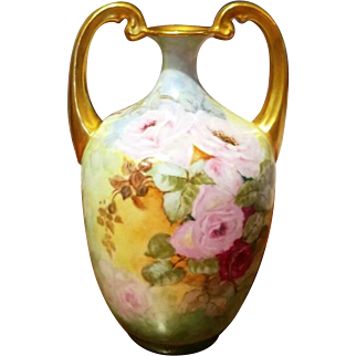 Limoges Hand Painted Rose Muscle Vase
