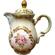 """Vintage  Hand Painted Rose Tea Coffee Chocolate Pot, """"North Face"""", Artist Signed"""