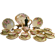 Limoges Hand Painted Tea Chocolate Pot /Creamer/Sugar /6 Cup/6 Saucer Charger /2 Plate Set, 19 Pcs